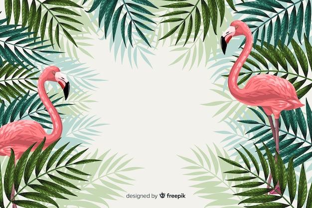 Tropikalne tło ze zwierzętami