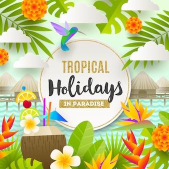 Tropikalne wakacje i ilustracja wakacji na plaży