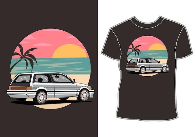 Tropikalne wakacje samochodów i projekt koszulki na wakacje o zachodzie słońca