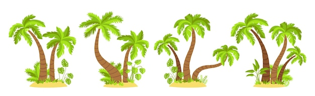 Tropikalne wyspy z palmami płaski zestaw kreskówek. egzotyczne zioła i rośliny monstera palmy kokosowe natura element projektu
