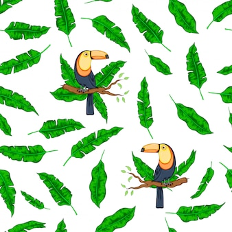Tropikalne zielone liście ptak tukan