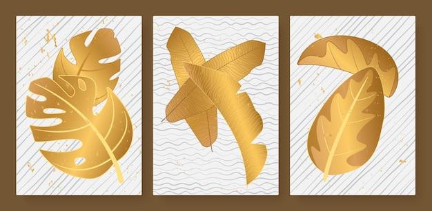 Tropikalne złote liście ustawione dla opowieści w mediach społecznościowych luksusowy abstrakcyjny obraz ściany ze złotej palmy
