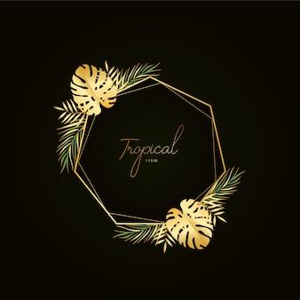 Tropikalne złote tło ramki