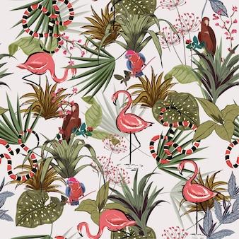 Tropikalni kwiaty, palmowej dżungli bezszwowy wektor