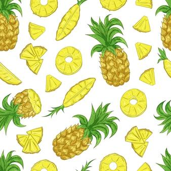 Tropikalny ananas ananasowy owocowy bezszwowy wzór na białym tle.