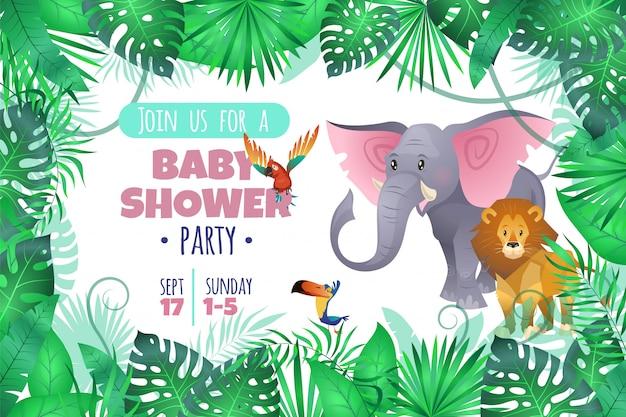 Tropikalny baby shower. lew słonia w dżungli, afrykańskie młode urocze dzikie zwierzę i południowa palma opuszczają zaproszenie z kreskówek