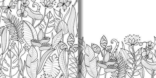 Tropikalny bezszwowy wzór i zestaw obramowań do nadruków tekstylnych tapety z kwiatowym konturem