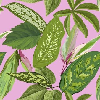 Tropikalny bezszwowy wzór z palmowymi liśćmi dla tapety