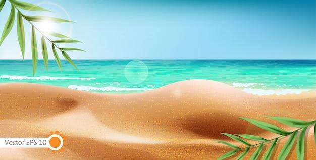 Tropikalny brzeg morza i egzotyczne liście tło. letnia plaża z rozbłyskiem słońca