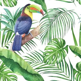 Tropikalny deseniowy projekt z ptakiem i monstera opuszcza, palmowi liście, ilustracja.
