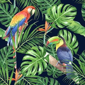 Tropikalny deseniowy projekt z ulistnieniem i ptakiem, ilustracja.