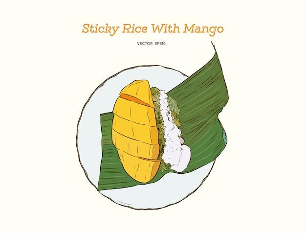 Tropikalny deser w stylu tajskim, ryż kleisty jeść mango, szkic strony wyciągnąć rękę.