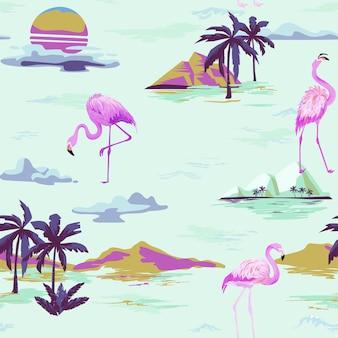 Tropikalny flamingo bezszwowe wektor wzór lato z palmami zwrotnikowymi. ptak tło do tapet, strony internetowej, tekstury, tekstyliów.