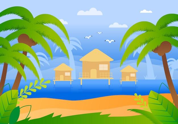 Tropikalny hotel na płaskiej wodzie kreskówki.