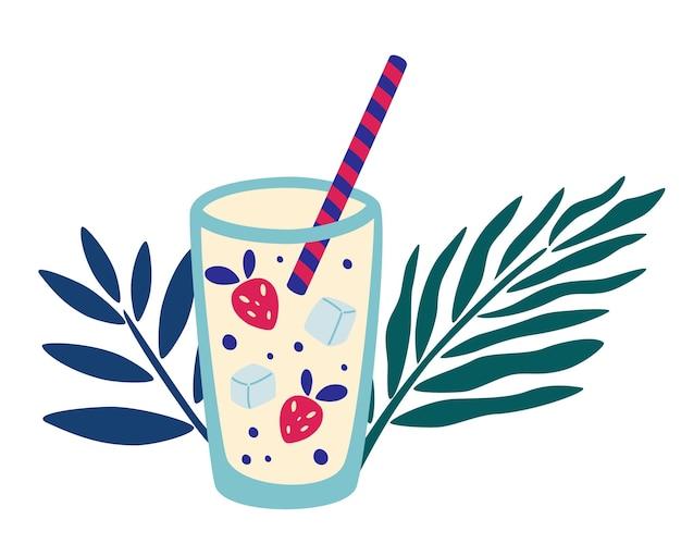 Tropikalny koktajl z truskawką i lodem. utwórz liść palmowy. letni napój w wysokiej szklance ze słomkami. ilustracja wektorowa napoju bezalkoholowego. nowoczesna okładka menu barowego, projekt ulotki.