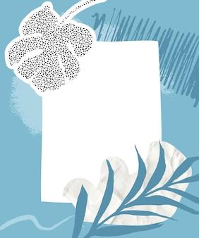 Tropikalny kolaż tło z niebieskimi pastelowymi pociągnięciami pędzla zmięty papier i tropikalna palma