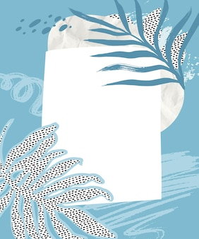 Tropikalny kolaż tło z niebieskimi pociągnięciami pędzla zmięty papier i tropikalny liść kropkowana tekstura