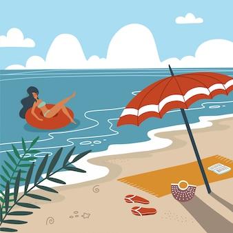 Tropikalny krajobraz. palmy i rośliny tropikalne. pejzaż morski. ręcznik plażowy z parasolem na plaży. kobieta w stroje kąpielowe pływające na gumowy pierścień w fale morskie. płaska ilustracja
