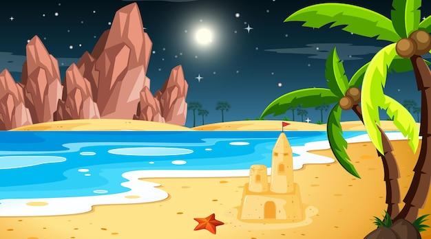 Tropikalny krajobraz plaży w nocnej scenie