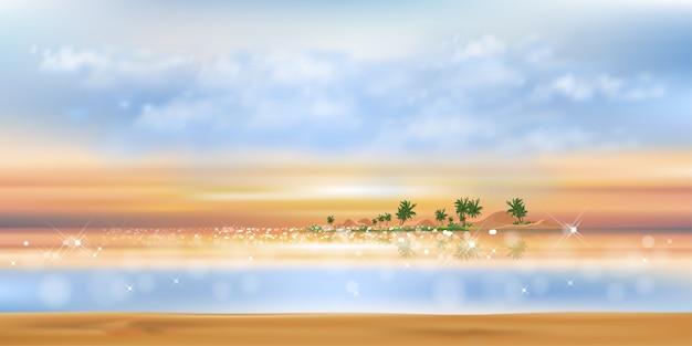 Tropikalny krajobraz zachód słońca z błękitnym oceanem, palmy kokosowe na wyspie