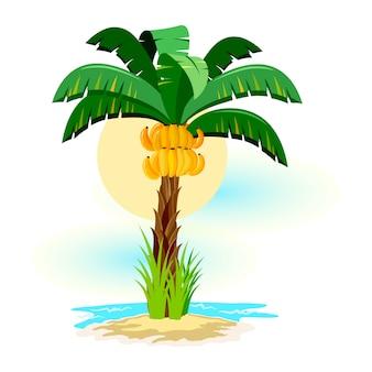 Tropikalny krajobraz ze słonecznym niebem, palmy na plaży. letnie wakacje w tropikach.