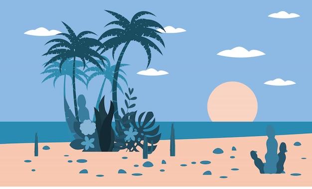 Tropikalny krajobrazowy ocean plaży zmierzchu drzewka palmowe, rośliny flory tło
