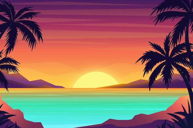 Tropikalny krajobrazowy tło dla zoomu