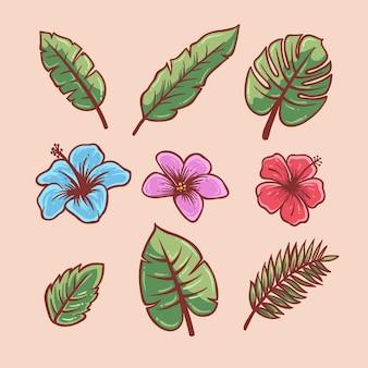 Tropikalny kwiat i liść