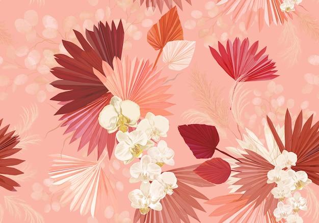 Tropikalny kwiat orchidei, liście palmowe, trawa pampasowa, księżyc bezszwowe tło wektor. wzór suszonych kwiatów dżungli. akwarela boho projekt na ślub, nadruk na tkaninach, tekstura tapety, tło