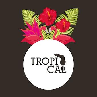 Tropikalny kwiat pozostawia okrągły etykiety