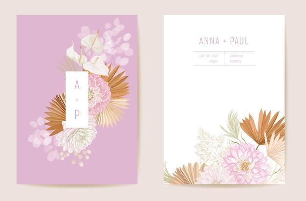 Tropikalny kwiatowy zaproszenia ślubne, suche kwiaty zwrotnik, suszone liście palmowe karty, akwarela szablon wektor. botaniczna okładka dalia save the date, nowoczesny plakat, modny design, luksusowe tło