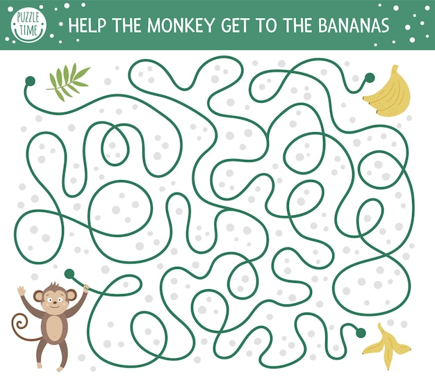 Tropikalny labirynt dla dzieci. egzotyczna aktywność przedszkolna. śmieszne puzzle dżungli. pomóż małpie dostać się do bananów.