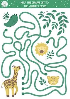 Tropikalny labirynt dla dzieci. egzotyczna aktywność przedszkolna. śmieszne puzzle dżungli. pomóż żyrafie dostać się do liści.