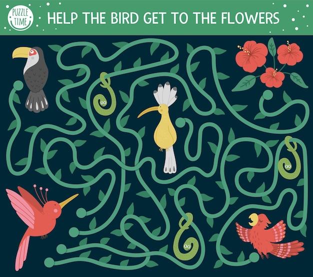 Tropikalny labirynt dla dzieci. egzotyczna aktywność przedszkolna. zabawna układanka z dżunglą z uroczą papugą, dudkiem i tukanem. pomóż ptakowi dostać się do kwiatów.