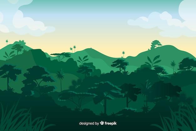 Tropikalny las krajobraz z górami