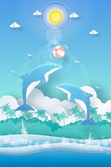 Tropikalny lata tło, delfin bawić się piłkę w oceanie