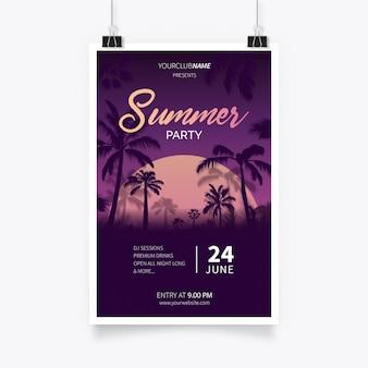 Tropikalny letni plakat party