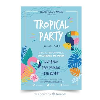 Tropikalny letni szablon ulotki strony