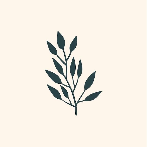 Tropikalny liść gałąź symbol media społecznościowe post ilustracja wektorowa kwiatowy