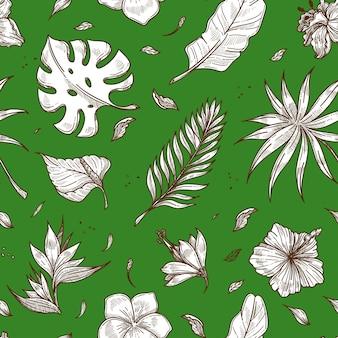 Tropikalny liść palmowy bezszwowe wektor wzór lato szkic tło