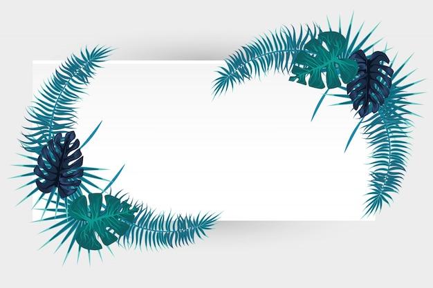 Tropikalny liść palmowy biały backgroung dla tekstu