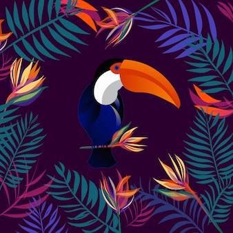 Tropikalny liści tło z tukan ptaków