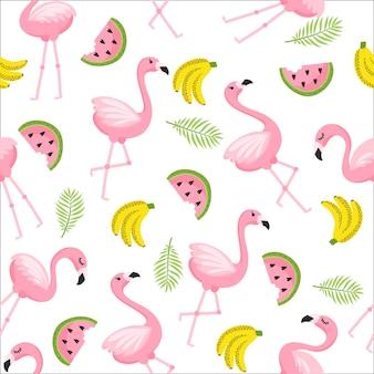 Tropikalny modny wzór z różowymi flamingami i liśćmi mięty zielonej palmy. egzotyczne tło sztuki na hawajach. projekt dla tkaniny i wystroju.