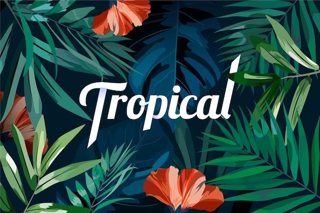 Tropikalny napis liści i czerwonych kwiatów