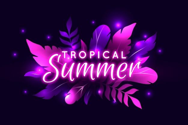 Tropikalny napis neon z ulotką