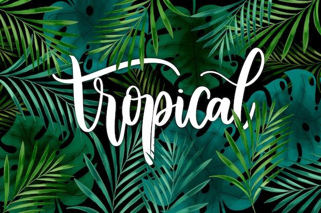 Tropikalny napis z liści lub kwiatów
