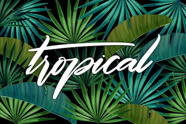 Tropikalny Napis Z Liści Lub Kwiatów Darmowych Wektorów