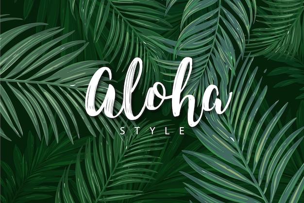 Tropikalny napis z liśćmi