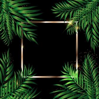 Tropikalny naturalny zielony palmowy tło. ilustracja