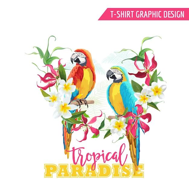 Tropikalny projekt graficzny. papuga ptak i tropikalne kwiaty